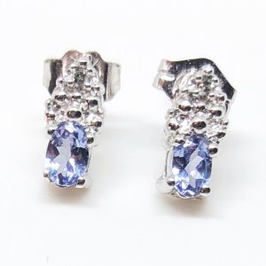 10k White Gold Genuine Tanzanite Diamond Earrings